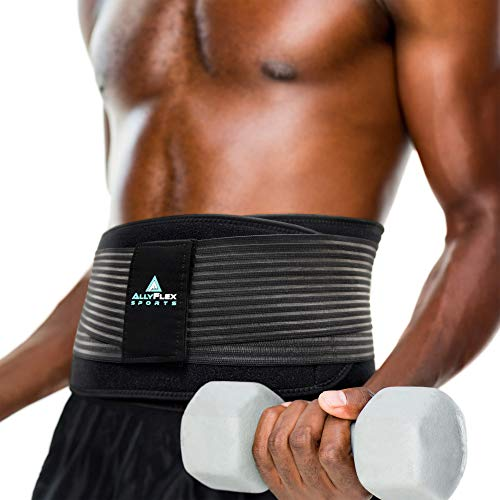 AllyFlex Sports Lumbar Support Back Brace for Lower Back Pain Men, with Dual Lumbar Sacral Pads, Adjustable Straps and Cooling Liner, X-Large/XX-Large