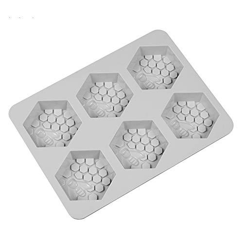 RIsxffp Moldes de Horneado 6-Grid Abeja Panal Hexagonal Molde Silicona DIY Artesanía Haciendo Molde Gray