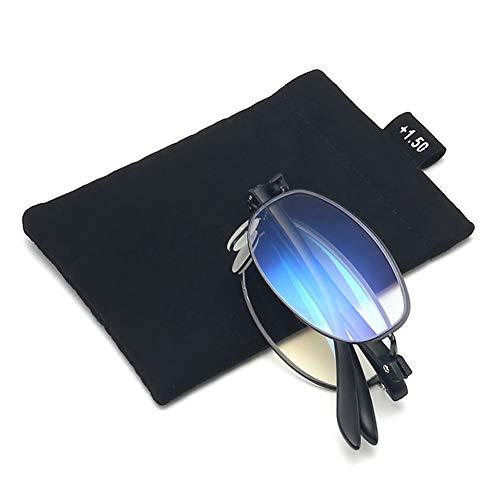 VOCD Retro Metalen anti-blauwe leesbril ring focus high-definition leeftijd spiegel draagbare Smart Zoom klapbril - TR spiegel voeten mannen en vrouwen