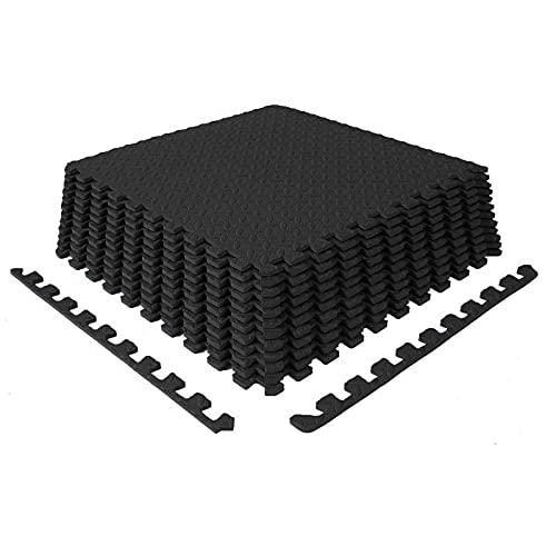 XQKXHZ Esterilla Puzzle para Suelos de Gimnasio y Fitness Estera de Fitness Suelo Deportivo Espuma Alfombrilla Protectora 16 Pzs Floor Puzzle Mat con Bordes Cada 11,8 x 11,8 x 0,39 Pulgadas,Negro