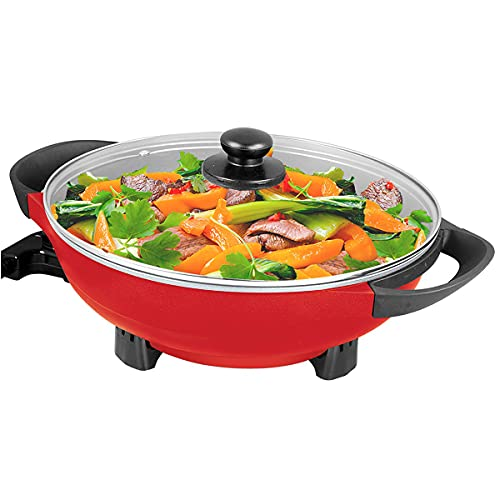 Electric Wok 5QT Nonstick 13 Inch with Glass Lid Auto Thermostat Control 1400W PFOA Free Stir Fry Paella Rice