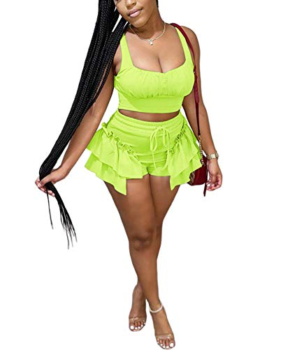 Women's Sexy 2 Piece Club Outfit Solid Color Sleeveless Cami Crop Tops High Waist Ruched Shorts Set Rompers Clubwear Light Green M
