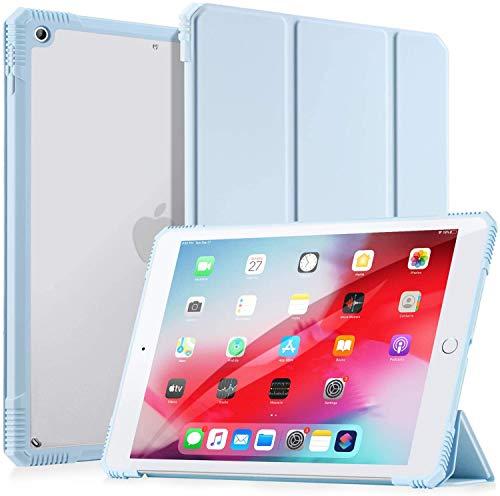 LovRug Hülle für iPad 8.Generation 2020/7.Generation 2019,iPad 10.2 Zoll Hülle,Anti-Fall Schlankes Leichtgewicht,Durchscheinender gefrosteter Harter Rücken,Auto Wake/Sleep (Hellblau)