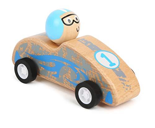 Small Foot 11150 Terugtrekflitser, raceauto, blauw van FSC 100% gecertificeerd hout, rubberen banden voor de beste grip bij het terugtrekken speelgoed, meerkleurig