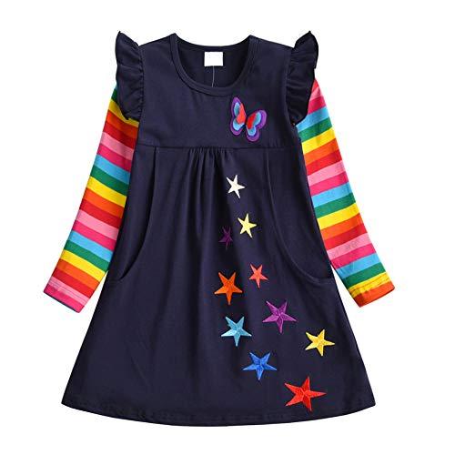 DXTON Mädchen Kleider 100% Baumwolle Kleid Langarm Herbst Winter Süße Kinder Kleidung BlauLH5808 5T,4-5 Jahre