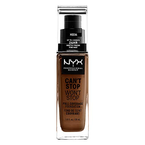 NYX Professional Makeup Can't Stop Won't Stop Full Coverage Foundation, Langanhaltend, Wasserfest, Vegane Formel, Mattierter Teint, Farbton: Mocha