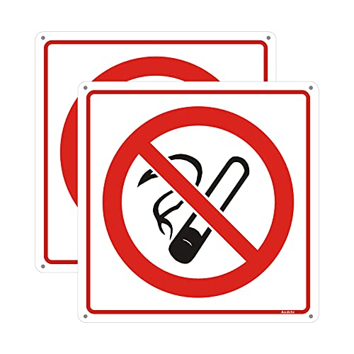 Andchi 2 Teile Zeichen, Rauchverbot Zeichen, Aluminium Metall Handelszeichen, Aluminium Zeichen, Größe: 200x200mm