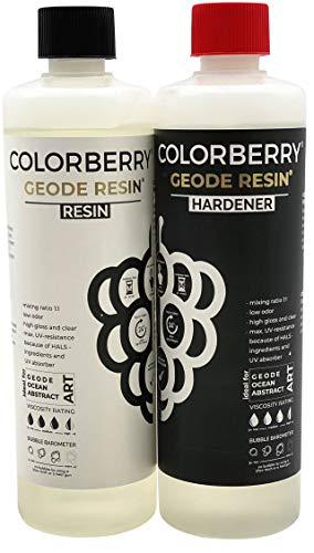 COLORBERRY Geode Resin (The One To One Harts) 1: 1 - Premium gjutet harts/epoxiharts skapat i Tyskland - Syntetiskt harts, hälla, fluorkonst 1.000 ml (500 ml harts, 500 ml härdare)