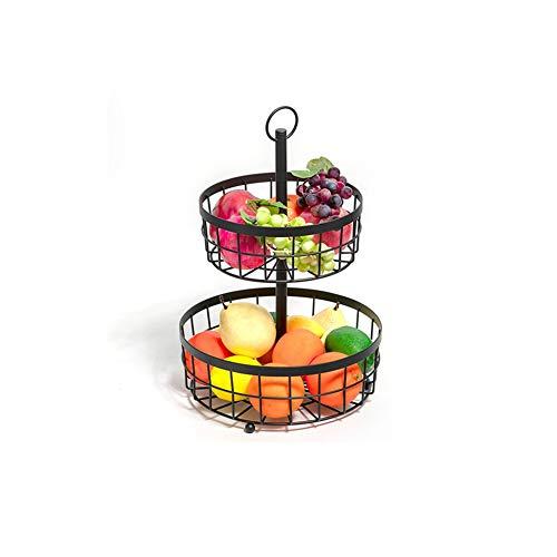 Dniu Soporte de almacenamiento de frutas para frutas y verduras, soporte de metal para encimera, estante para fruteros, estante desmontable para frutas, pan, verduras, bocadillos (2 niveles)