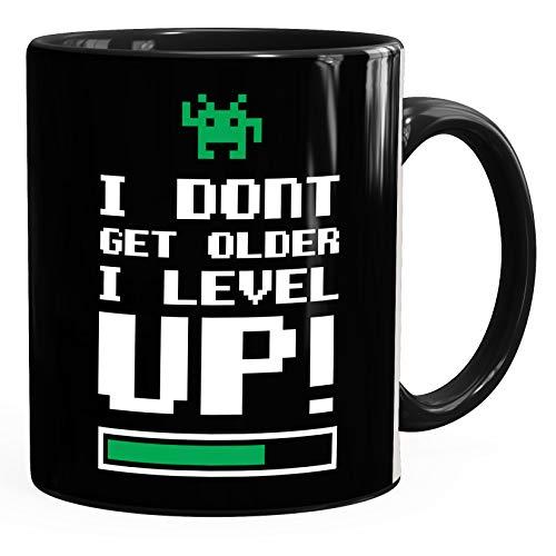 Kaffee-Tasse I dont get older I level up Gamer Spruch-Tasse Geburtstagstasse MoonWorks® schwarz unisize