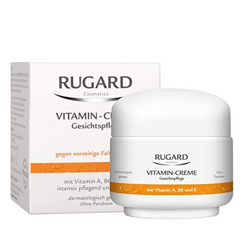 RUGARD Vitamin-Creme: Anti Aging Gesichtscreme gegen vorzeitige Hautalterung, mit Vitamin A, B6, E und Kollagen, 50ml