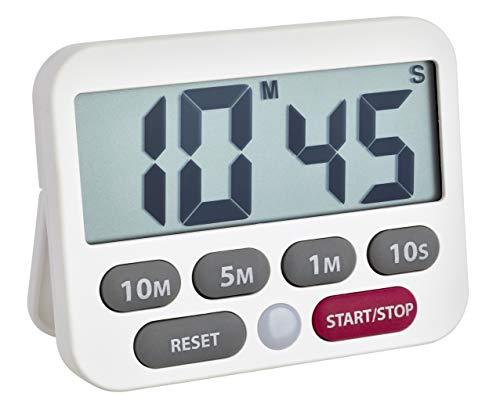 TFA Dostmann Digitaler Timer und Stoppuhr, 38.2038.02, Zeit bis 99min 50sec, extra-lauter Alarm, einfache und schnelle Zeiteingabe, weiß