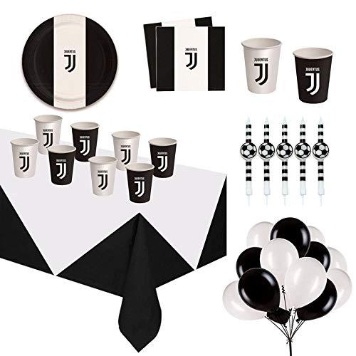 CartaIn Net Festa a Tema Juventus Compleanno   Set Tavola con Candeline Decorazione Torta e Palloncini per Bambini