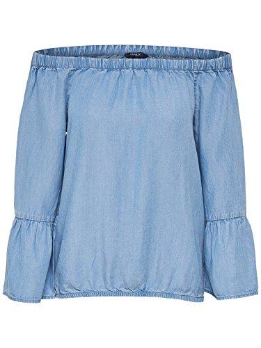 ONLY Damen onlSANDY Off Shoulder DNM TOP Box Bluse, Blau (Light Blue Denim Light Blue Denim), Medium (Herstellergröße: 38)