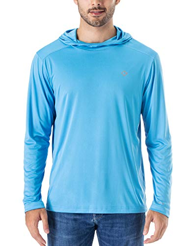 Naviskin Men's UPF 50+ UV Sun Protection Hoodie Lightweight Outdoor Long Sleeve T-Shirt Blue Size XXL