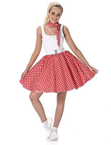 Karnival Costumes-50's Polka Dot Skirt & Necktie Déguisement, Women, 81101, Red, grand