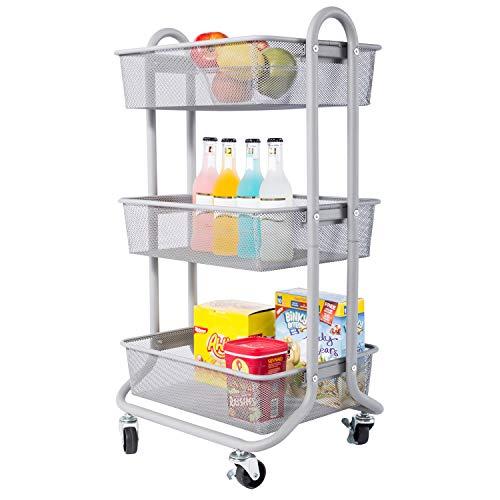 DESIGNA 3-Tier Rolling Utility Cart Storage Shelves Multifunction, Metal Mesh Baskets, Pantry Cart with Lockable Wheels, Grey