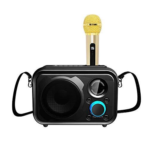 KJCHEN Altavoz Bluetooth Inicio Usuarios externos KTV Micrófono portátil Micrófono de Mano Teléfono móvil inalámbrico Sonido Universal (Color : Black)