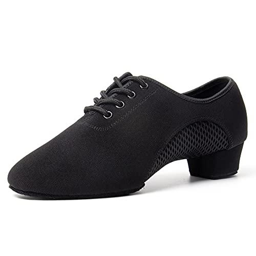 VCIXXVCE Práctica Zapatos Baile de Salon Latino para Mujer&Hombre Negro Punta Cerrada Zapato Salsa Tango de Enseñanza,42 EU