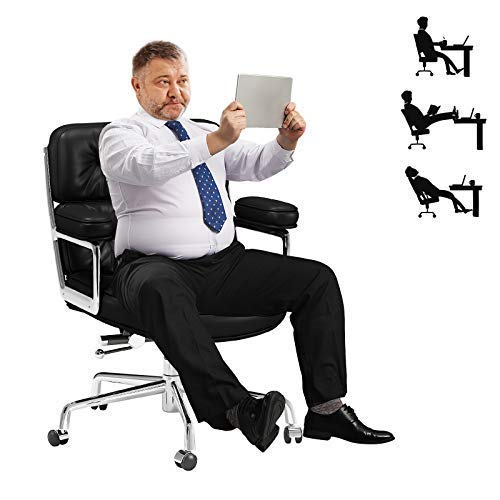 Big and Tall Office Chair 500lbs Weight Capacity,Heavy Duty Executive Desk Computer Chair with Lumber Support,360°Swivel,Adjustable Height,Wide Thick Seat Padding