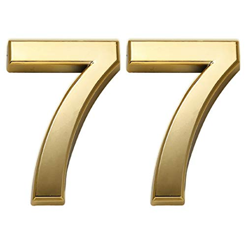 2 Pack Mailbox Numbers 7, Door Number Stickers for House/ Apartment/ Home Room/ Office, Self Adhesive, Golden Shiny, Double 7, 2.75 Inch High.(2.75