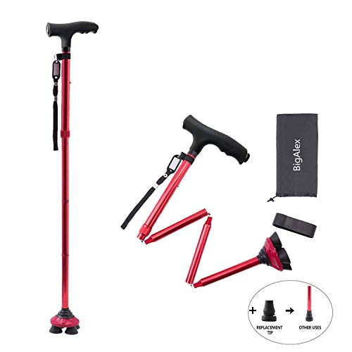 BigAlex Folding Walking Cane with LED Light,Pivoting Quad Base,Adjustable Walking Stick with Carrying Bag for Man/Woman (4'9''-5'6'' Red )