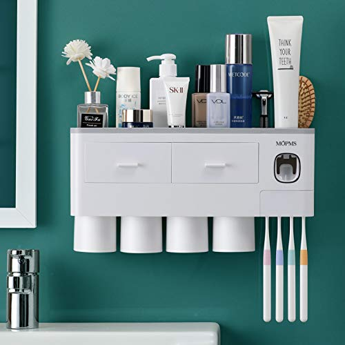 MOPMS Multifunctional Self Adhesive Toothbrush Holder, Automatic Toothpaste Dispenser Space Saving Toothbrush Organizer - 4 Cups,Grey