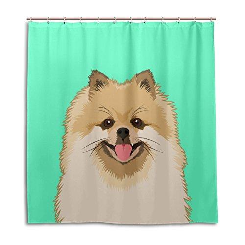 alaza Spitz-Hunde Duschvorhang 72 x 72 Inch, schimmelresistent und wasserdicht Polyester Dekoration Badezimmer-Vorhang
