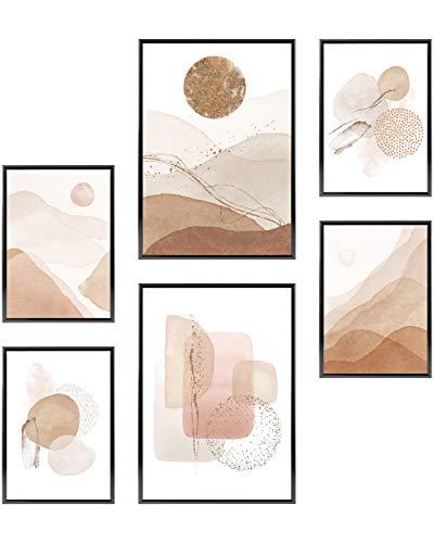 Heimlich Cuadros Decorativos - SIN Marcos -Decoración Colgante para Paredes de Sala, Dormitorios y Cocina - Arte Mural - 2 x A3 & 4 x A4-30x42 & 21x30 | » Acuarela Abstracta Oro III «