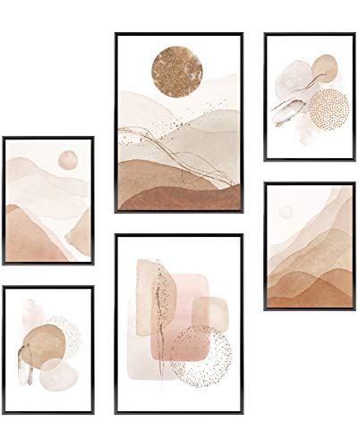 Heimlich Cuadros Decorativos - Decoración Colgante para Paredes de Sala, Dormitorios y Cocina - Arte Mural - 2 x A3 (30x42cm) et 4 x A4 (21x30cm) | Sin Marcos »Acuarela Abstracta Oro III «
