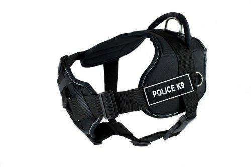Dean & Tyler Polizei-Hundegeschirr mit reflektierendem Rand, gepolstertes Bruststück, Größe XL, für einen Umfang von 86,4 cm bis 119,4 cm, Schwarz