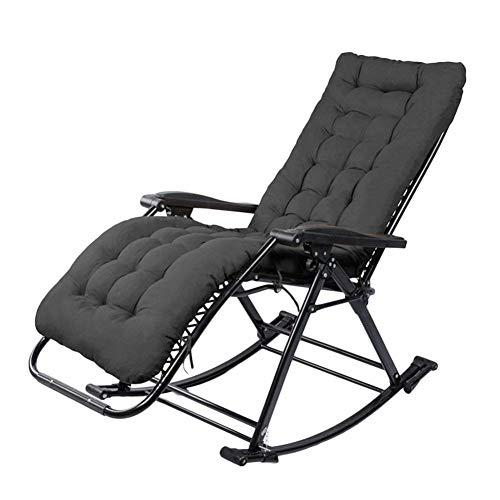 DQCHAIR Cómoda Silla Mecedora Ith Cushions Zero Gravity Chaise Lounges Patio Tumbona Silla Oficina al Aire Libre Playa Plegable Reclinable Portátil Soporte 200kg (Color : Black)