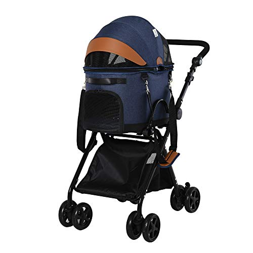 PawHut Luxury Folding Pet Stroller Dog/Cat Travel Carriage 2 in 1 Design Pet Carrier Bag + Stroller with Wheels Adjustable Canopy Zippered Mesh Window Blue