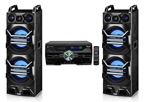 (2) Technical Pro Dual DJ/Party Speaker w/LED Lights+Titanium Tweeter Bundle with Receiver/Amp/DVD Player Bluetooth/USB/FM and Rockville R14GSBR50 Red/Blk 14 Gauge Car Audio Speaker Wire (4 Items)