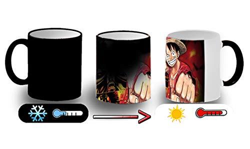 MERCHANDMANIA Taza MÁGICA Luffy PUÑO Onepiece Anime Magic mug