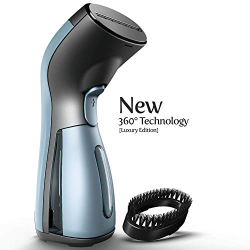 iSteam Steamer for Clothes [Luxury Edition] Powerful Dry Steam. Multi-Task: Fabric Wrinkle Remover- Clean- Refresh. Handheld Clothing Accessory. for All Kind of Garments. Home/Travel [MS208 Blue]