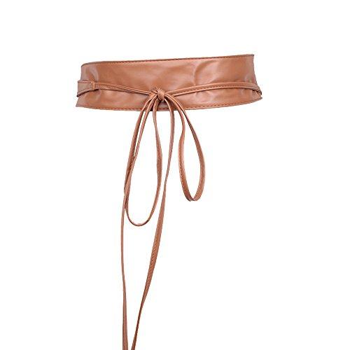 ZIEO Cintura de Cuero para Mujer Cinturón de Encaje de Piel sintética con Lazo de Piel sintética, Correa de Bohemia, Negro, Talla única Cinturón de Mujer (Color : Khaki)