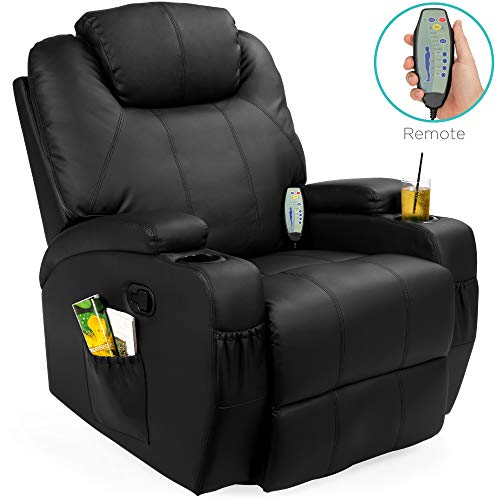 Best Choice Products Faux Leather Executive Swivel Electric Massage Recliner Chair w/Remote Control, 5 Heat & Vibration Modes, 2 Cup Holders, 4 Pockets, Black
