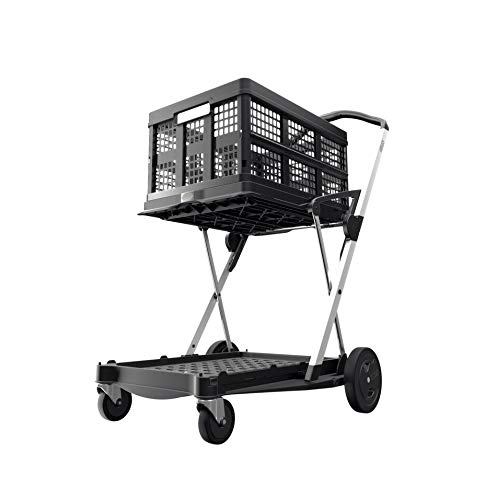 Transport Klappmobil Clax Comfort-Set bestehend aus 1 Transportmobil mit 1 gratis Clax Faltbox, schwarz (black edition), klappbar
