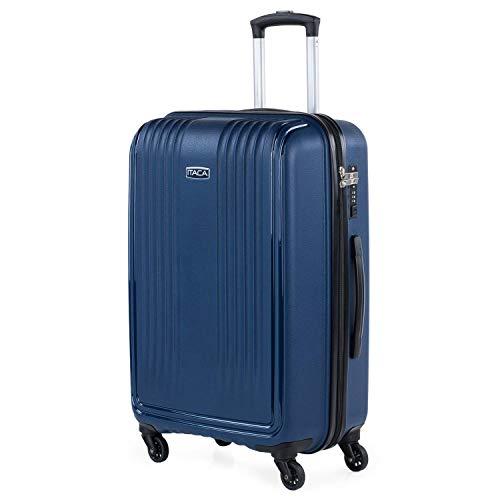 ITACA - Maleta de Viaje rígida de Polipropileno con Cerradura TSA con 4 Ruedas, Ligera y tamaño Mediana 760360, Color Marino