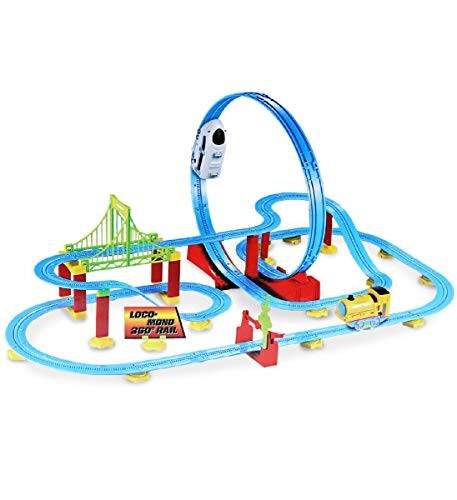 Mozlly White Locomotive 360° Bullet Rail Train Playset High Speed Roller Coaster Battery Operated Mini Shuttle Machine Detachable Loop Race Track Building Structure Themed Toys amp Games 82 Pcs Set