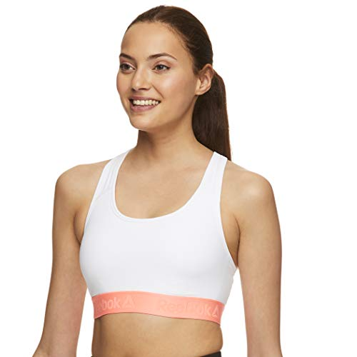 Reebok - Sujetador deportivo inalámbrico con espalda cruzada para mujer - Blanco - Medium