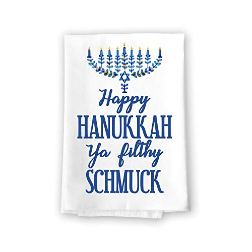 Honey Dew Gifts Funny Kitchen Towels, Happy Hanukkah Ya Filthy Schmuck Flour Sack Towel, 27 inch by 27 inch, 100% Cotton, Highly Absorbent, Multi-Purpose Kitchen Dish Towel