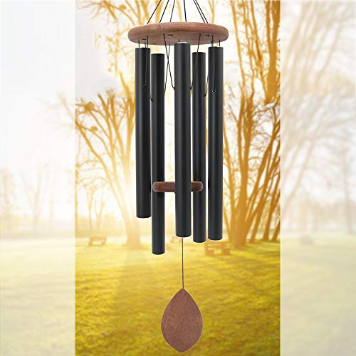 "ASTARIN Wind Chimes Outdoor Deep Tone Large,36"" Wind Chimes Amazing Grace with 5 Heavy Tuned Tubes for Garden Backyard Church Hanging Decor,Memorial Wind Chimes for Funeral Sympathy Gift,Black"