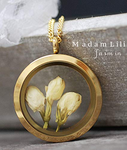 Echte Jasminblüten Medaillon mit Kette 60cm - Vergoldet - Jasmin Blume Getrocknet