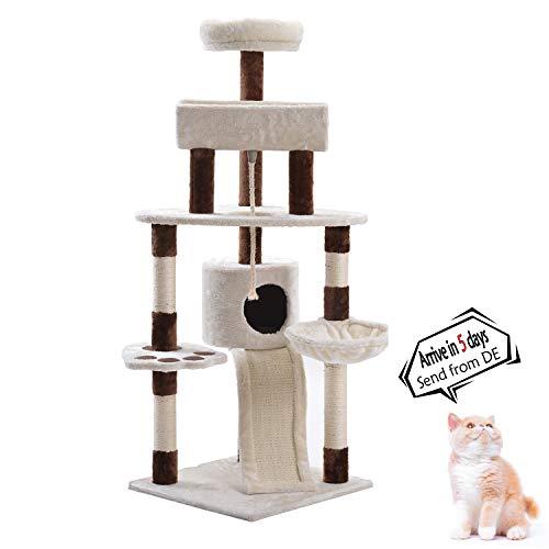 Snowve Katzenzubehör Kitten Kratzbaum Modern - 140 cm Groß Mehrstufige Katzenbaum Aktivität Natürliche Sisal Beiträge Haustier Haus mit Hängematte(Braun)