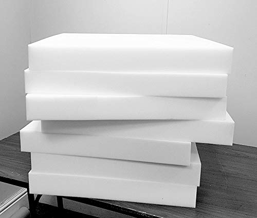 House of Threads Upholstery Foam High Density Sheet Cushion Replacement Seat Pads White (18'x18'x4')