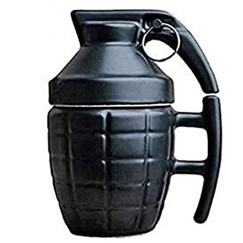 ASEOK Funny Granatentasse - Frühstückstasse für Cappuccino, Kaffee und Tee in Keramik - 300 ml - Tasse in Form Einer Granate mit Deckel - Original und lustige Geschenkidee (schwarz)