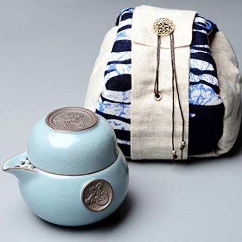 FUYIO Juego de té de Kung Fu de Viaje Juego de té de cerámica Incluye 1 Maceta 1 Taza Elegante Gaiwan Tetera Hermosa y fácil Tetera Azul, Juego de té en Bolsa