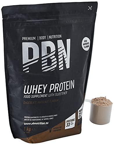 PBN - Premium Body Nutrition Siero di Latte in Polvere, 1 Kg (Pacco da 1), Sapore di Nocciola e Cioccolato, Gusto Ottimizzato